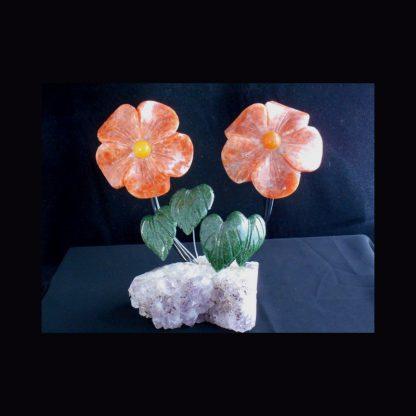 Fleurs en pierre de Calcite Orange