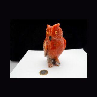 Chouette en Pierre de Calcite Orange