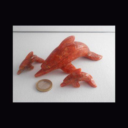 Dauphin en Pierre de Calcite Orange
