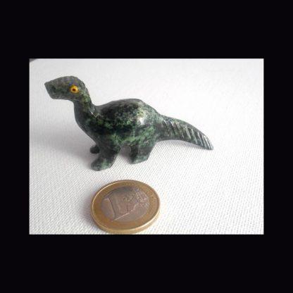 Dinosaure en Pierre de Serpentine Verte