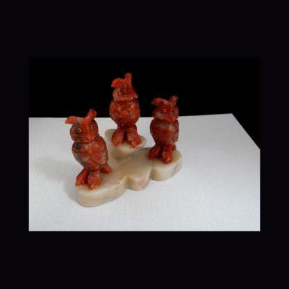 Chouettes en Pierre de Calcite Orange