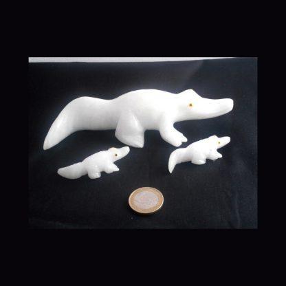 Crocodile en Pierre de Calcite Blanche