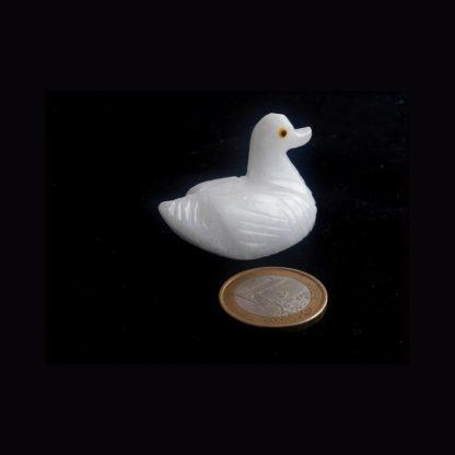 Canard en Pierre de Calcite Blanche