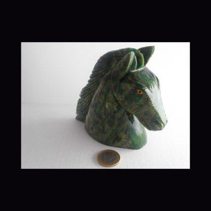 Buste Cheval en Pierre de Serpentine Verte