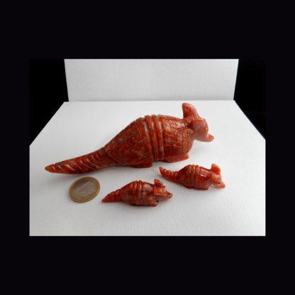 Tatou en Pierre de Calcite Orange