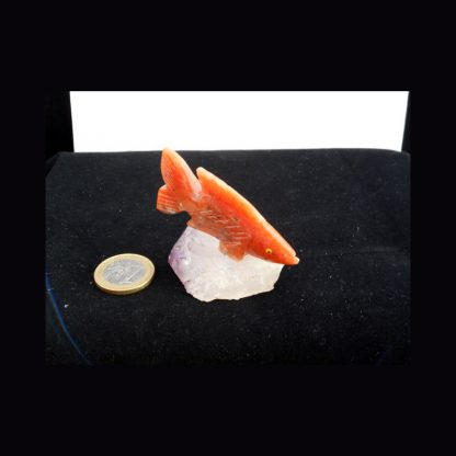 Poisson en Pierre de Calcite Orange