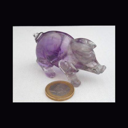 Cochon en Pierre d'Améthyste