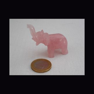 Eléphant en Pierre de Quartz Rose