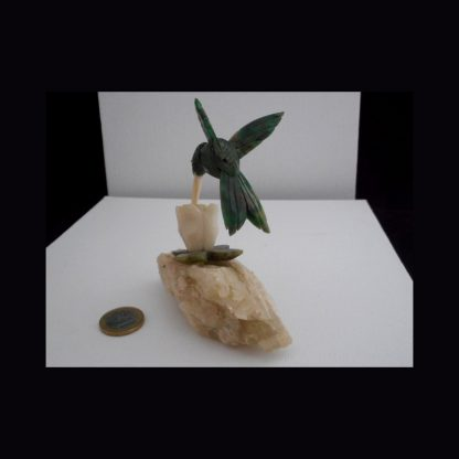Colibri Beija Flor en pierre de Serpentine verte