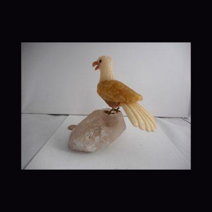 Oiseau en Pierre de Calcite Jaune