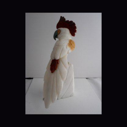 Perroquet en Pierre de Calcite Blanche