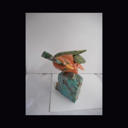 Perroquet en Pierre de Calcite Orange
